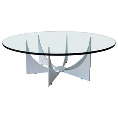 Mid-Century Modern Donald Drumm Style Powder-Coated White Coffee Cocktail Table