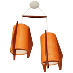 Mid Century Modern Double Hanging Teak Ceiling Light