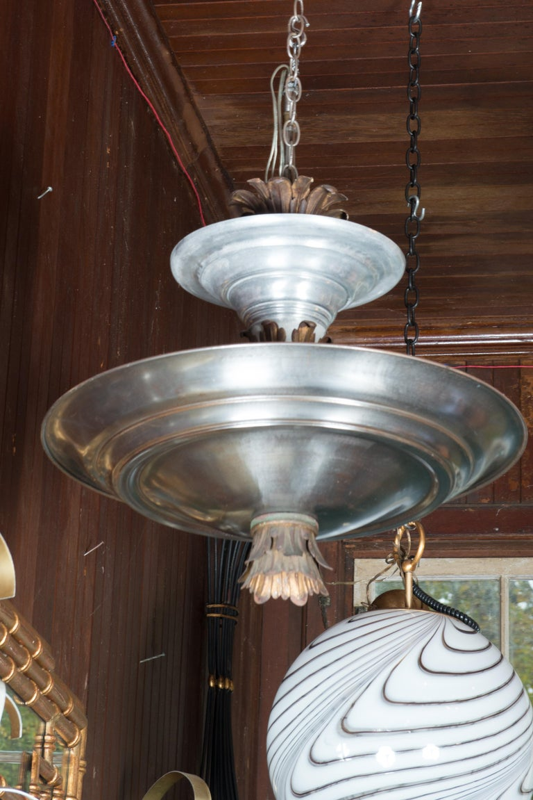 Mid-Century Modern Double Silver Metal Saucer Pendant Chandelier For Sale 6