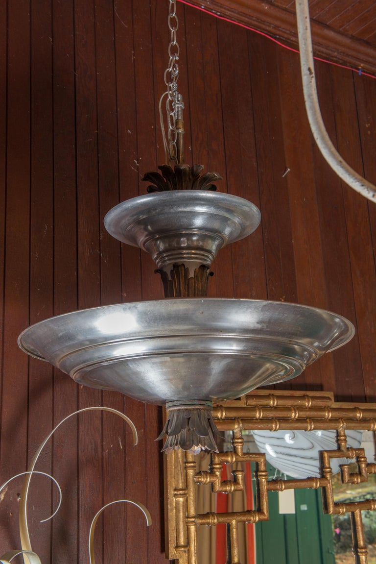 Mid-20th Century Mid-Century Modern Double Silver Metal Saucer Pendant Chandelier For Sale