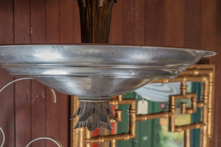 Mid-Century Modern Double Silver Metal Saucer Pendant Chandelier For Sale 2