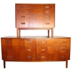 Mid-Century Modern Dresser and Chest Set in Teak