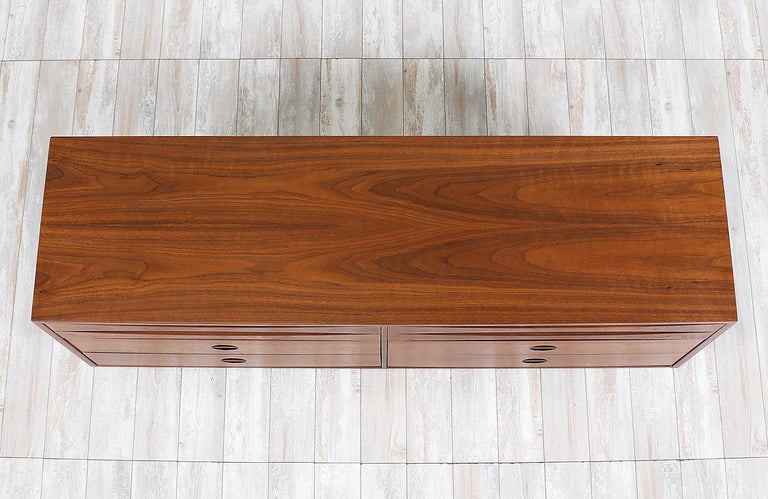 Walnut Mid-Century Modern Dresser with Lacquered Bowtie Style Drawers