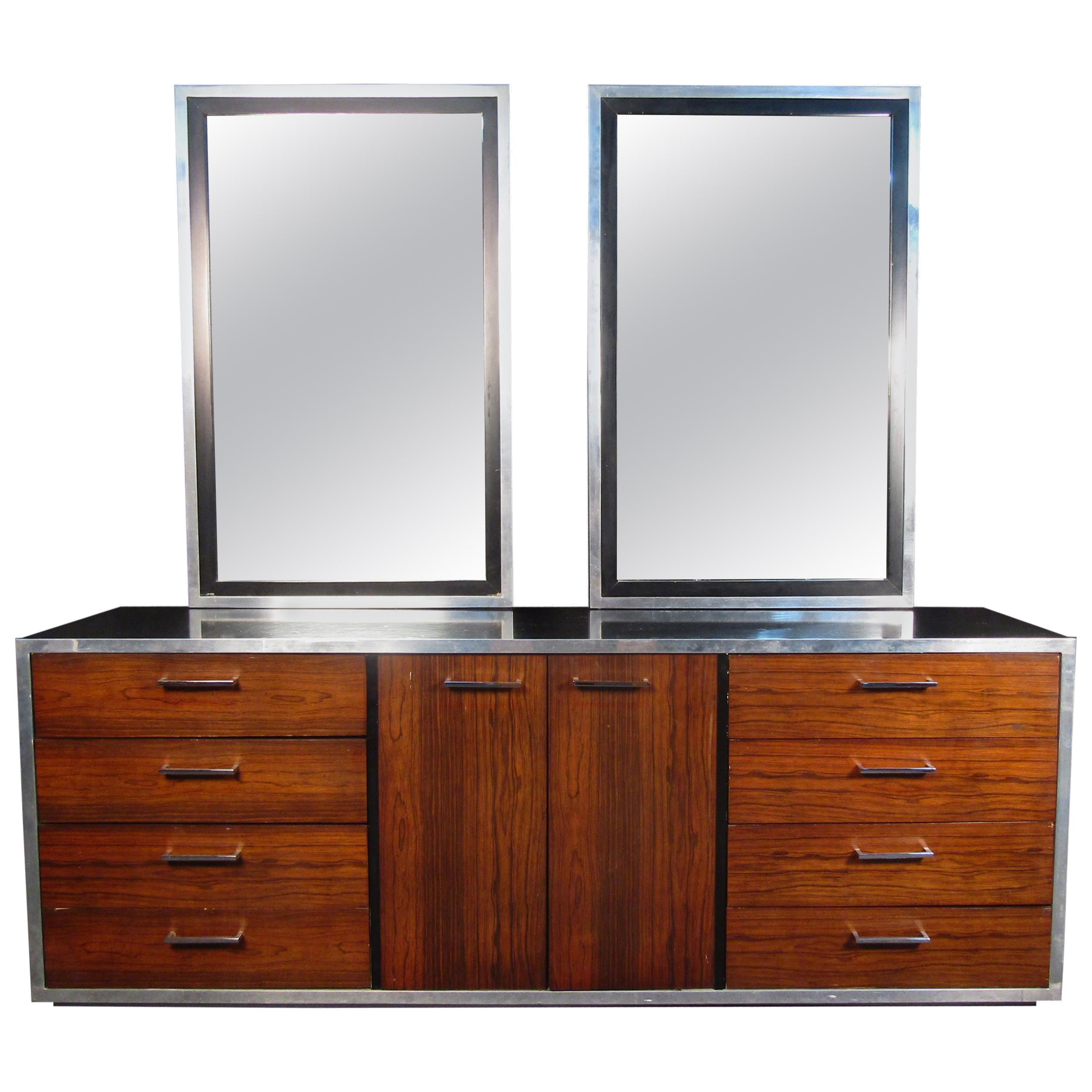 Mid-Century Modern Dresser with Two Mirrors