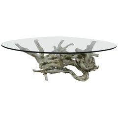 Mid-Century Modern Driftwood Coffee Table with Glass Top