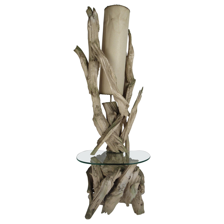 Mid-Century Modern Driftwood Floor Lamp