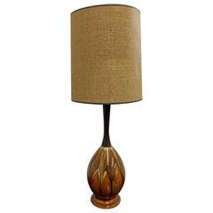 Mid-Century Modern Drip Glaze Ceramic Walnut Table Lamp
