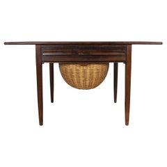 Mid-Century Modern Drop-Leaf Sewing Table by Johs, Andersen, 1960s