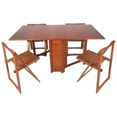 Mid-Century Modern Drop-Leaf Table and Slat Folding Chairs