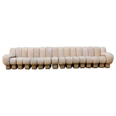 Mid-Century Modern DS-600 Nonstop 16 Section Vintage Beige Suede Leather Sofa