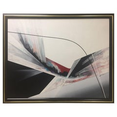 Mid-Century Modern Dynamic Minimalist Abstract Painting in Red White and Black