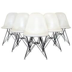 Mid-Century Modern Eames Herman Miller Eiffel Tower DKR Set of 6 Side Chairs