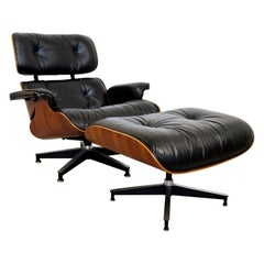 Mid-Century Modern Eames Herman Miller Rosewood Lounge Armchair & Ottoman, 1970s