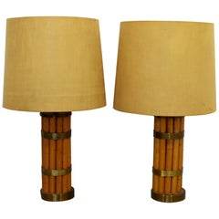 Mid-Century Modern Early Russell Wright Pair of Bamboo & Brass Table Lamps 1950s