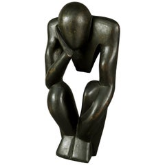 Mid-Century Modern Ebonized Carved Wood Abstract Sculpture, the Thinker