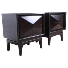 Mid-Century Modern Ebonized Diamond Front Nightstands by United, Refinished