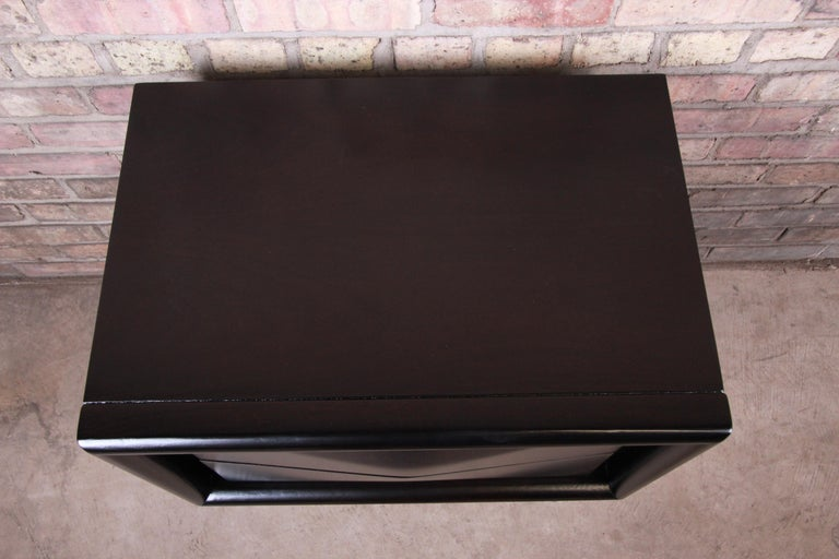 Mid-Century Modern Ebonized Sculpted Walnut Diamond Front Nightstand by United For Sale 3