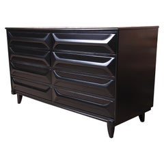 Mid-Century Modern Ebonized Sculpted Walnut Dresser or Credenza, Refinished