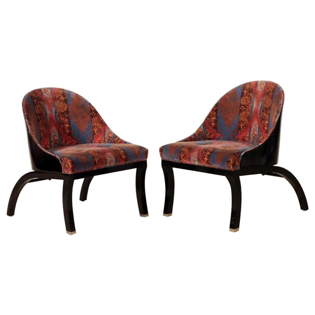 Mid-Century Modern Ebonized Shell Lounge Chairs, a Pair