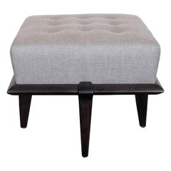Mid-Century Modern Ebonized Walnut and Dove Gray Button Tufted Ottoman