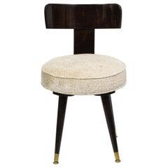 Mid-Century Modern Ebonized Walnut and Gauffraged Oyster Klismos Vanity Chair