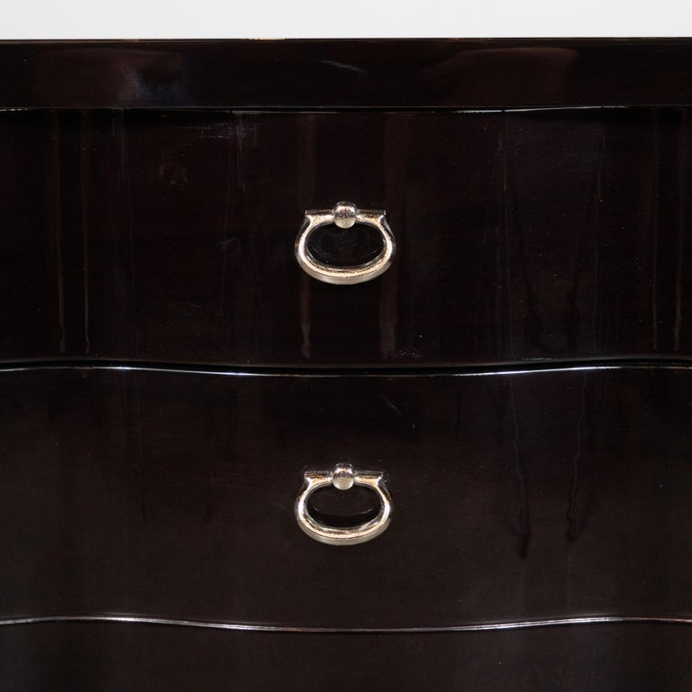 American Mid-Century Modern Ebonized Walnut Bowfront Nightstands With Nickel Pulls For Sale