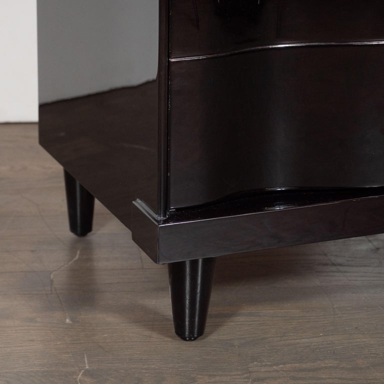 Mid-Century Modern Ebonized Walnut Bowfront Nightstands With Nickel Pulls For Sale 2