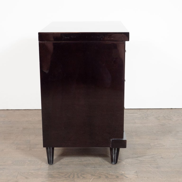 Mid-Century Modern Ebonized Walnut Bowfront Nightstands With Nickel Pulls For Sale 3