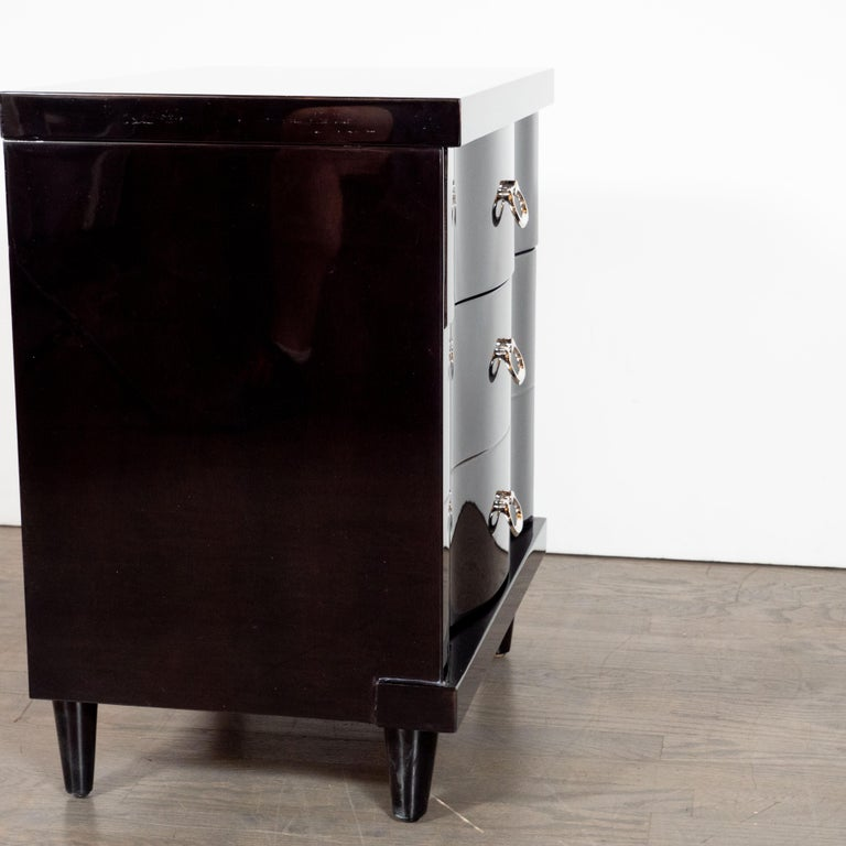 Mid-Century Modern Ebonized Walnut Bowfront Nightstands With Nickel Pulls For Sale 4