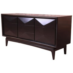 Mid-Century Modern Ebonized Walnut Diamond Front Dresser or Credenza, Refinished