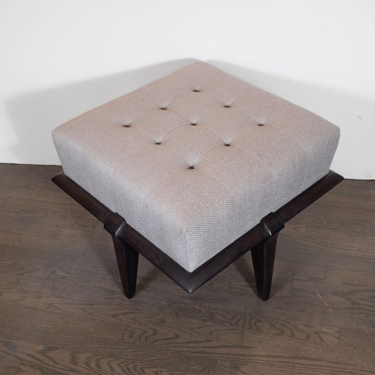 Mid-20th Century Mid-Century Modern Ebonized Walnut and Dove Gray Button Tufted Ottoman For Sale