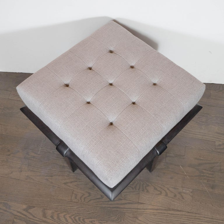 Upholstery Mid-Century Modern Ebonized Walnut and Dove Gray Button Tufted Ottoman For Sale