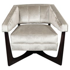 Mid-Century Modern Ebonized Walnut and Platinum Velvet Armchair