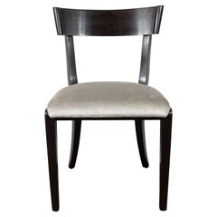 Mid-Century Modern Ebonized Walnut and Platinum Velvet Side Chair by Dunbar