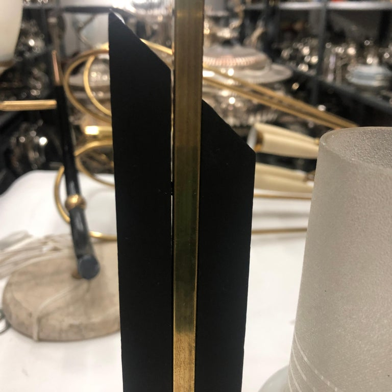 Mid-Century Modern Ebonized Wood, Brass and Glass Three Lights Chandelier, 1950 For Sale 1