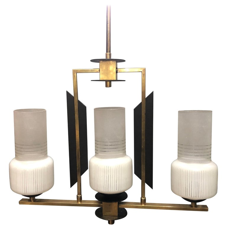 Mid-Century Modern Ebonized Wood, Brass and Glass Three Lights Chandelier, 1950 For Sale