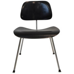 Mid-Century Modern Ebonized Wood and Chrome DCM Eames Chair