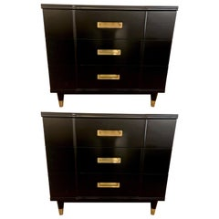 Mid-Century Modern Ebony Widdicomb Campaign Chests Commodes or Nightstands, Pair