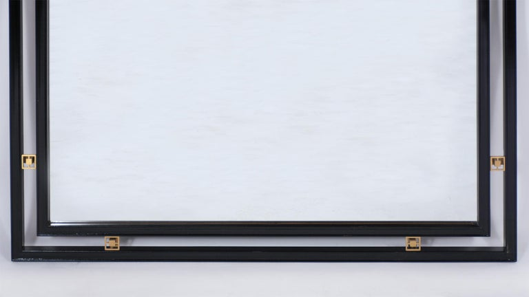 Mid-Century Modern Ebonized Wall Mirror In Good Condition For Sale In Los Angeles, CA