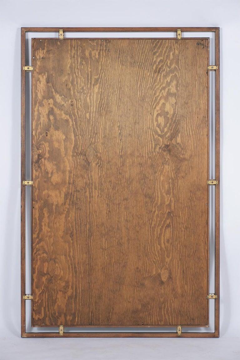 Brass Mid-Century Modern Ebonized Wall Mirror For Sale