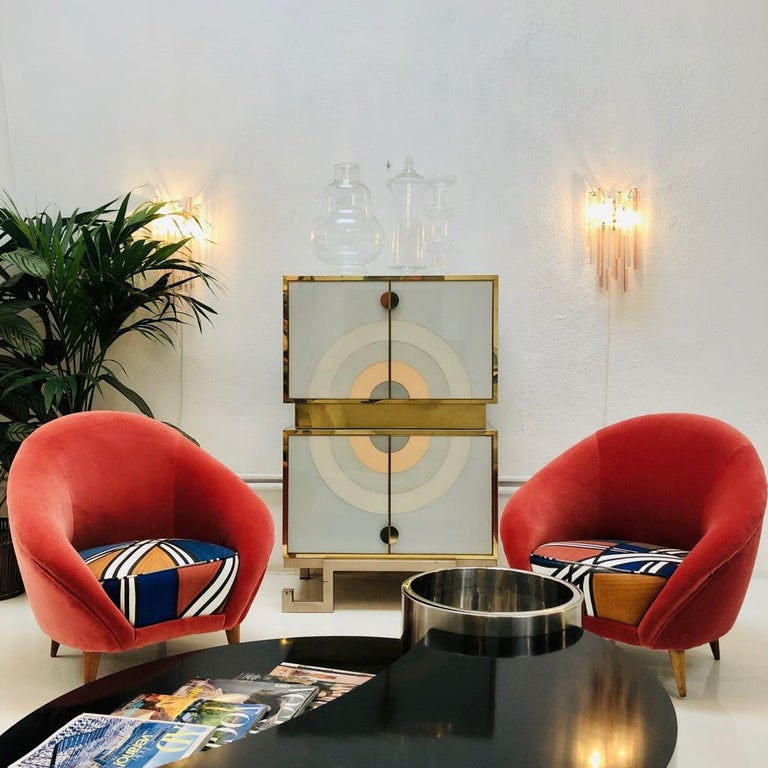 Metal Mid-Century Modern Edited and Signed by Venini Italian Pair of Sconces For Sale