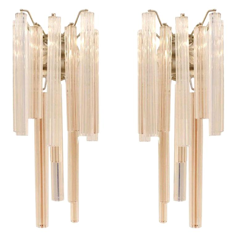 Mid-Century Modern Edited and Signed by Venini Italian Pair of Sconces For Sale