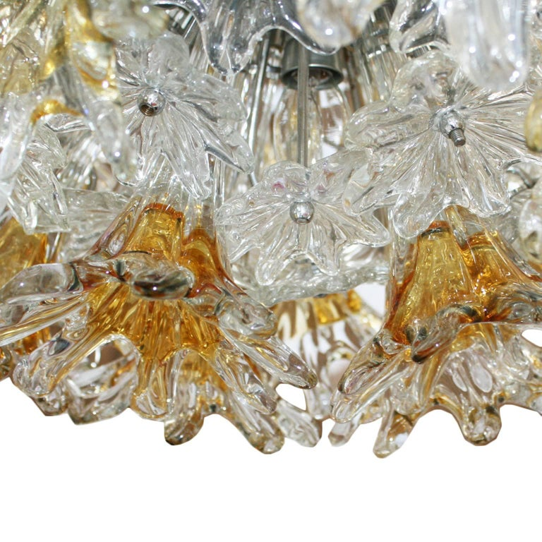 Mid-Century Modern Edited by Venini Murano Glass Italian Ceiling Lamp In Good Condition For Sale In Madrid, ES