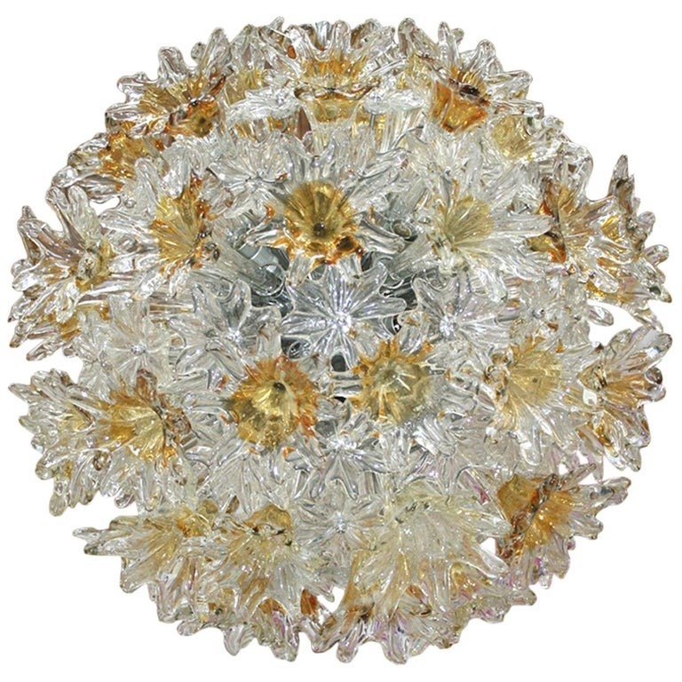 Mid-Century Modern Edited by Venini Murano Glass Italian Ceiling Lamp For Sale