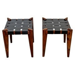 Mid-Century Modern Edmund Spence Woven Black Leather Benches Stools 1960s, Pair