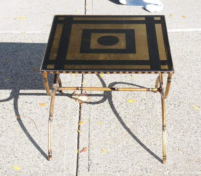 Mid-Century Modern Églomisé and Gilded Wrought Iron Low Table In Good Condition For Sale In Hudson, NY
