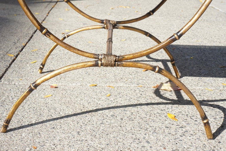 Glass Mid-Century Modern Églomisé and Gilded Wrought Iron Low Table For Sale
