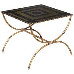 Mid-Century Modern Églomisé and Gilded Wrought Iron Low Table
