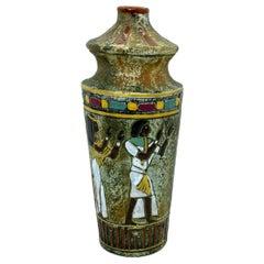 Mid-Century Modern Egyptian Motif Marchi Brescia Ceramic Vase, Italy, 1960s