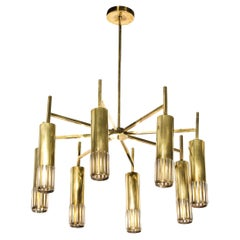 Mid Century Modern Eight Arm Brass & Murano Glass Chandelier with Conical Shades